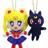 official japanese bandai sailor moon and luna cellphone strap plushies
