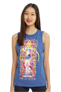 official sailor moon blue stained glass muscle top