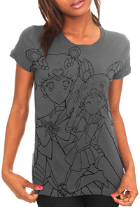 new sailor moon t-shirt featuring super sailor moon and sailor mini moon / chibi moon!