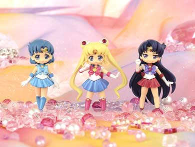 sailor moon crystal atsumete figures for girls set one featuring sailor moon, sailor mercury and sailor mars!