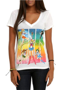 sailor moon group v-neck t-shirt