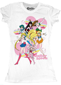 new sailor moon t-shirt featuring sailor moon, mercury, mars, jupiter, venus and mini moon / chibi moon